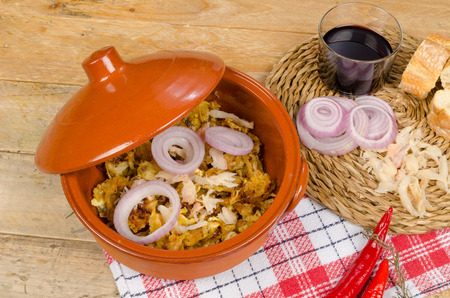 codfish: Traditional cod casserole and some of its ingredients Stock Photo