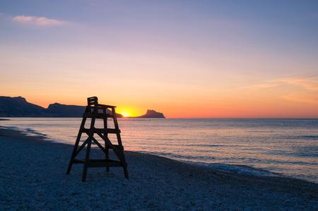 altea: Scenic sunrise on Altea beach, Costa Blanca, Spain