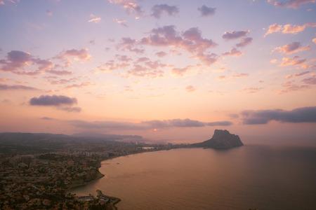 costa blanca: A sunrise over Costa  Blanca beach resort Calpe, Spain