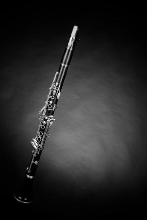 Clarinet shot against a dark background
