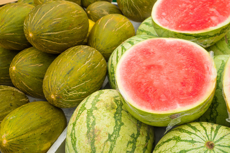 market stall: Assorted fresh melons on a street market stall