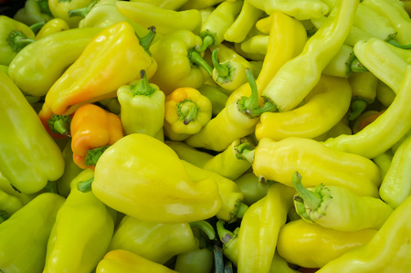 street market: Full frame take of green peppers on display on a street market stall Stock Photo