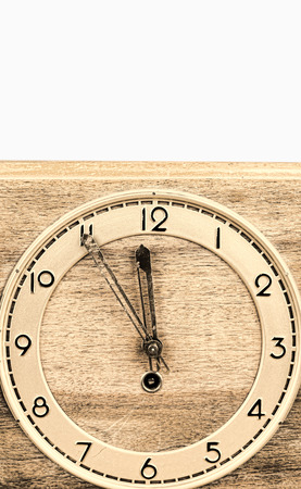 wall clock: Face of an old wooden wall clock