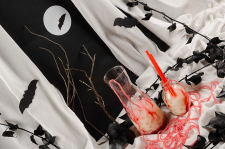 A funny Halloween party drink decorated for children photo