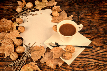 A cup of hot chocolate in a seasonal autumn still life photo