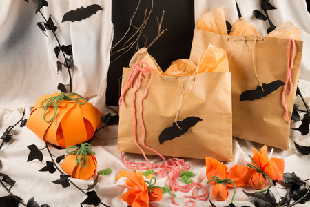 Bags full of candy for a kid Halloween party photo