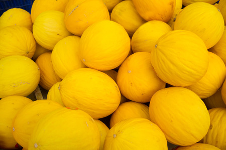 market stall: Full frame take of melons on a street market stall