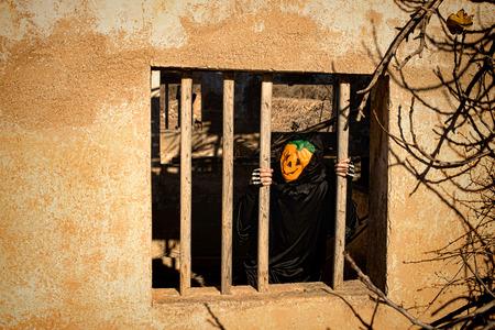 Halloween monster locked in behind window bars photo