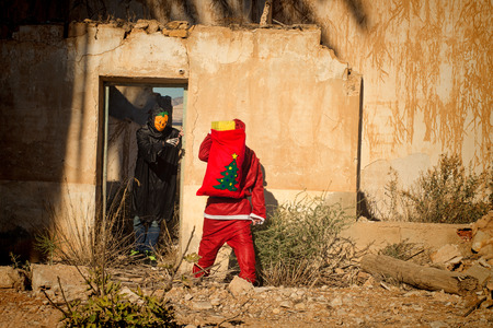 Santa in trouble, a holiday heroes confrontation photo