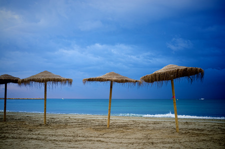 resort beach: Stormy weather on a Mediterranean resort beach