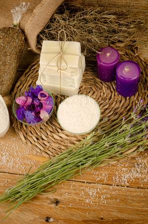 bath salts: Still life with bath salts and soap