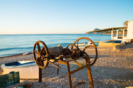 altea: Traditional fishing boats and equipment on Altea Bay, Costa Blanca, Spain Stock Photo