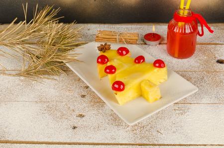 Fruity Christmas tree, a healthy kid dessert photo