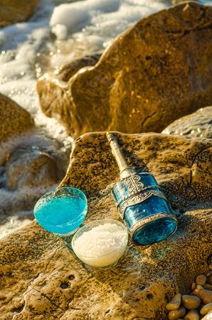 gel douche: gel douche et sels de bain, produits cosm�tiques naturels Banque d'images