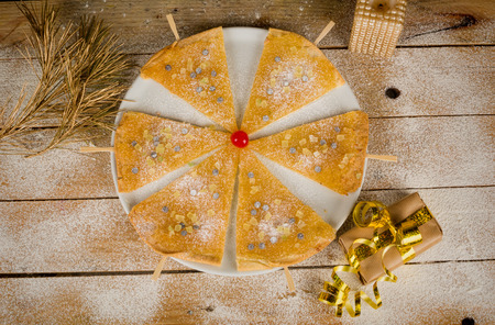 christmas paste: Sweet puff paste dessert, a Christmas treat for kids Stock Photo