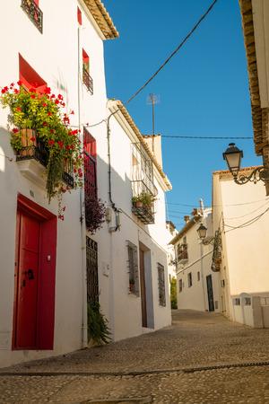 altea: Street in old town Altea, Costa Blanca, Spain
