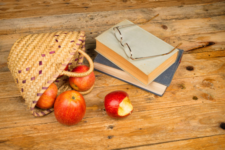 Still life with books and ingredients of fairy tales, a concept