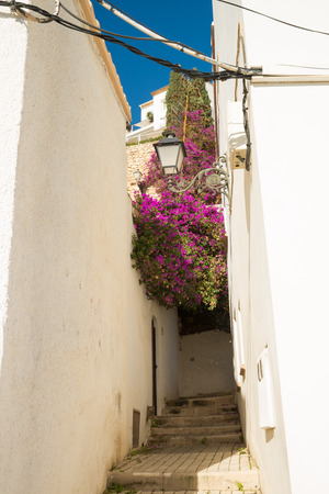 blanca: Old town street  with white houses, Altea, Costa Blanca