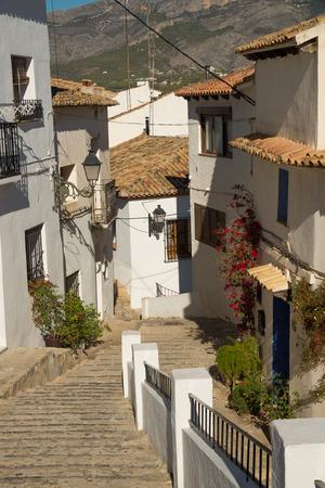 altea: Old town street  with white houses, Altea, Costa Blanca