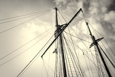 masts: Low angle take of sailboat masts and rigging Stock Photo