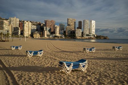 costa blanca: Benidorm beach under late afternoon sun, Costa Blanca, Spain