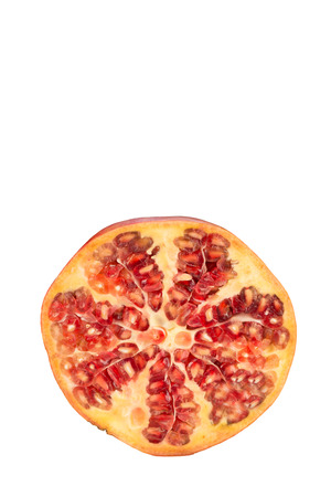 halved  half: Pomegranate cut in half  isolated on white