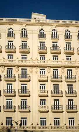 historical building: Exterior of a historical building with many balconies