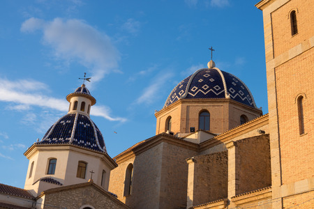 altea: Detail take of the blue domes of Altea landmark church, Costa Blanca, Spain