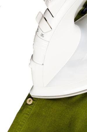 corduroy: High angle take of an iron on a corduroy shirt