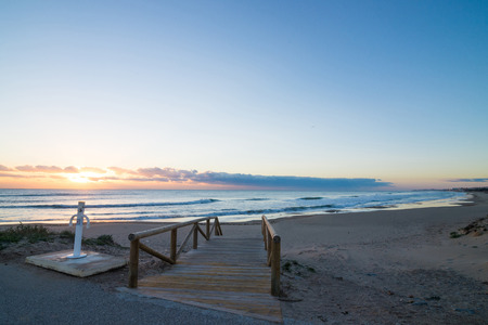 costa blanca: Sunrise on scenic Guardamar beach, Costa Blanca, Spain