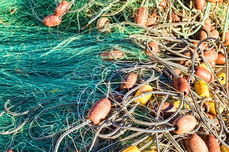 redes de pesca: Fotograma completo tomar de un mont�n desordenado de las redes de pesca Foto de archivo
