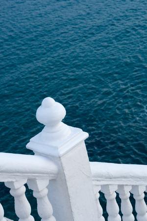 balustrade: White balustrade with ocean blue background, Mediterranean colors