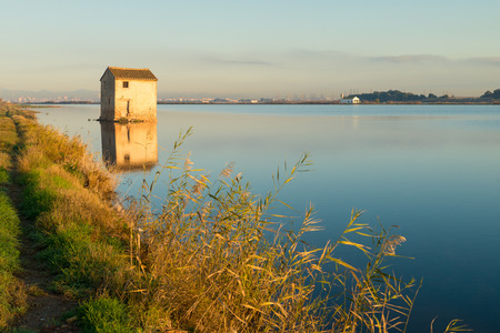 irrigated: Flooded rice paddy and traditional Mediterranean farm house, Albufera scenics, Valencia, Spain