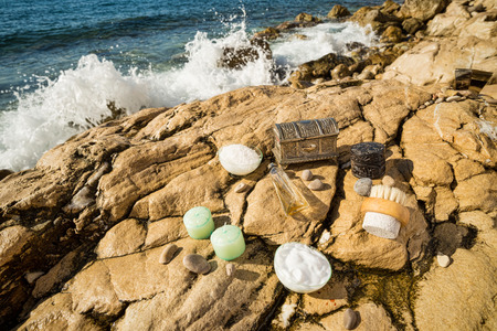 toiletries: Assorted natural toiletries in an outdoor setting