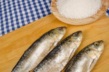 sardinas: Sal sardinas en conserva secas al lado de un mont�n de sal Foto de archivo