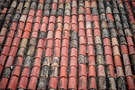 costruction: Full frame take of a roof with terracota tiles Stock Photo