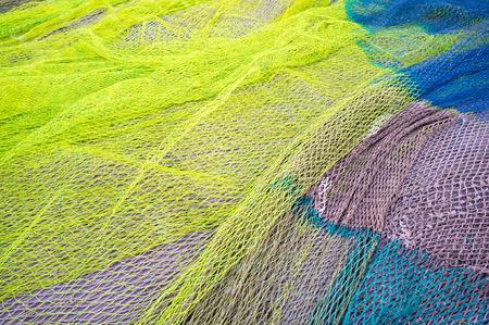 redes de pesca: Fotograma completo tomar de un mont�n de redes de pesca