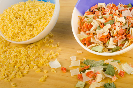 dehydrated: Noodles and dehydrated vegetables, raw soup ingredients