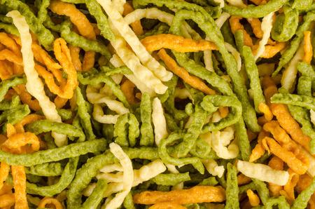 Full frame take of colorful spaetzle noodles