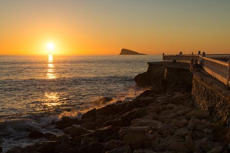 destinations: Scenic sunrise over Benidorm bay, one of Europes top  beach resort destinations