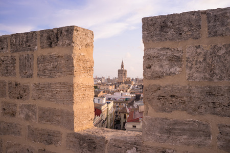 battlements: View of downtown Valencia through the battlements of Serrano towers