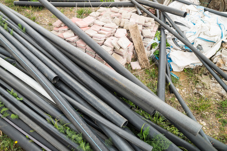 dumped: Perfectly good construction materials dumped, a real estate crisis concept