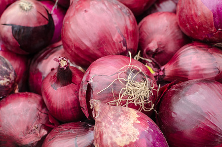 market stall: Heap of red onions on a street market stall
