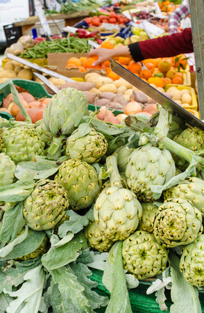 street market: Assorted produce on a large street market stall