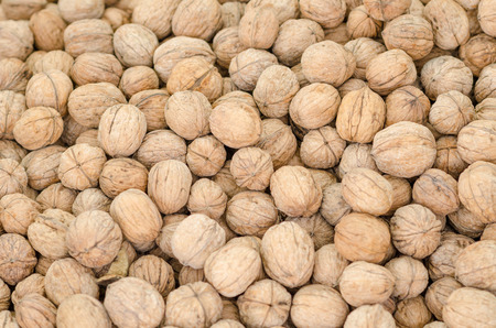 market stall: Full frame take of walnuts on a market stall Stock Photo