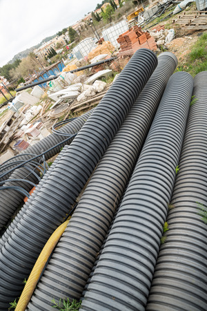irresponsible: Perfectly good construction materials dumped, a real estate crisis concept