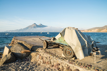 fishing nets: Trailer with fishing nets inside Cabo de Gata nature reserve, Andalusia, Spain Stock Photo