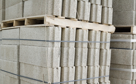 concrete blocks: Many concrete blocks piled up on a construction material yard