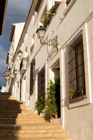 costa blanca: Charming narrow old town street in Altea, Costa Blanca, Spain