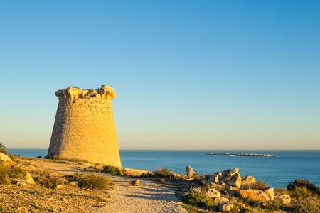 watchtower: Old  watchtower on the Mediterranean coast, Costa Blanca,  Spain Stock Photo